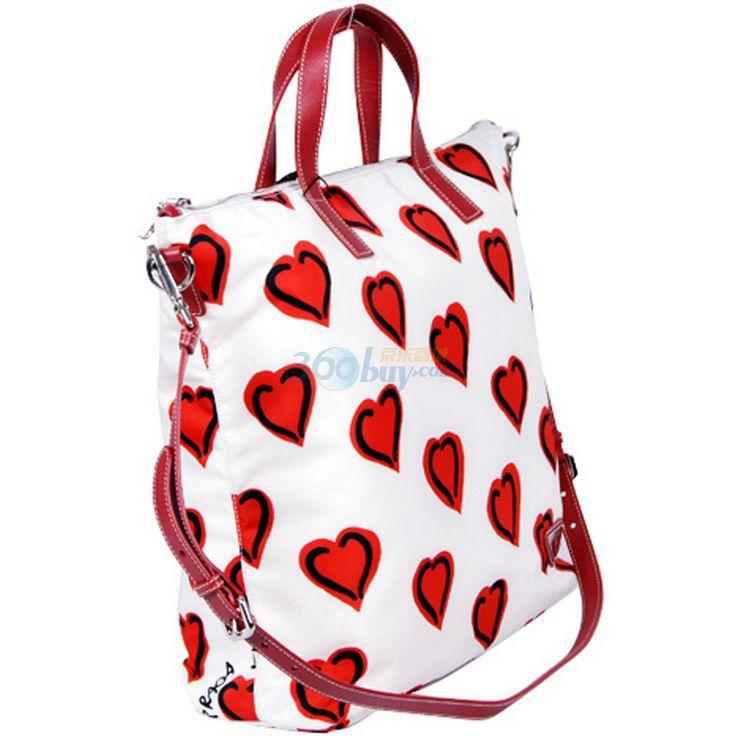 (北京)prada普拉达白色女士红心图案手提包bn20522
