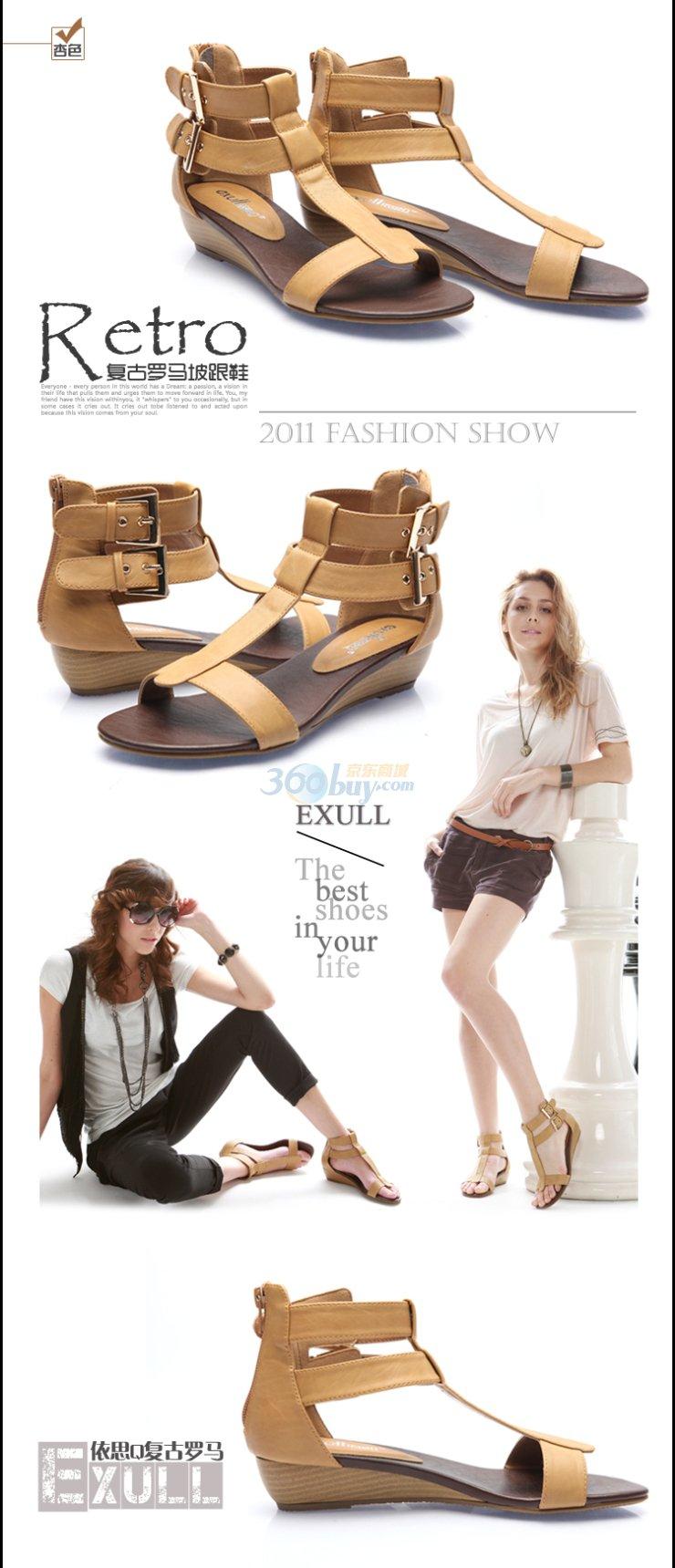 exull依思q 2011新款 罗马风格坡跟中跟女鞋凉鞋