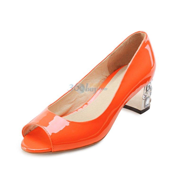 瑞柏儿2012欧美夏季新款女鞋鱼嘴粗跟亮丽糖果单鞋子
