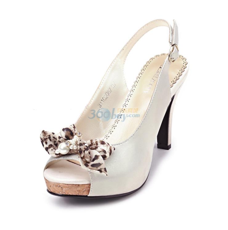 zecity瑞柏儿2011新款豹纹蝴蝶结鱼嘴凉鞋b2087