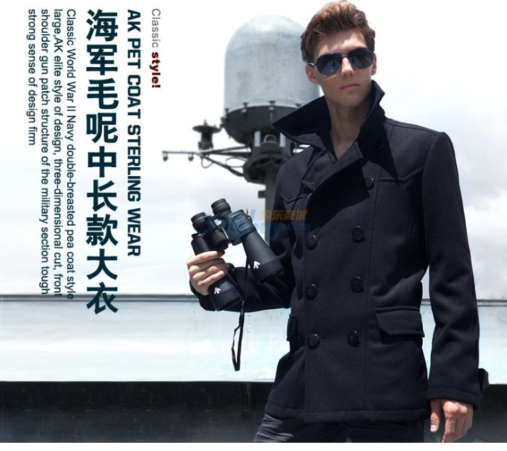 K男装秋冬新品海军呢中长款大衣A210001图片