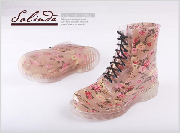女士碎花雨靴平跟马丁雨鞋