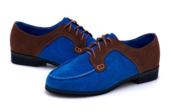 2013春季新款平跟平底真皮鞋休闲女鞋女式系带拼接单