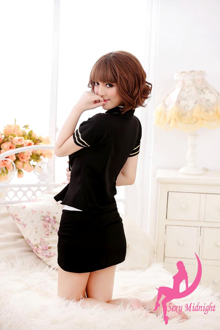 十八号空姐情趣内衣角色扮演女士酒店制服短裙情趣情趣性感套装性感道具里黑色图片
