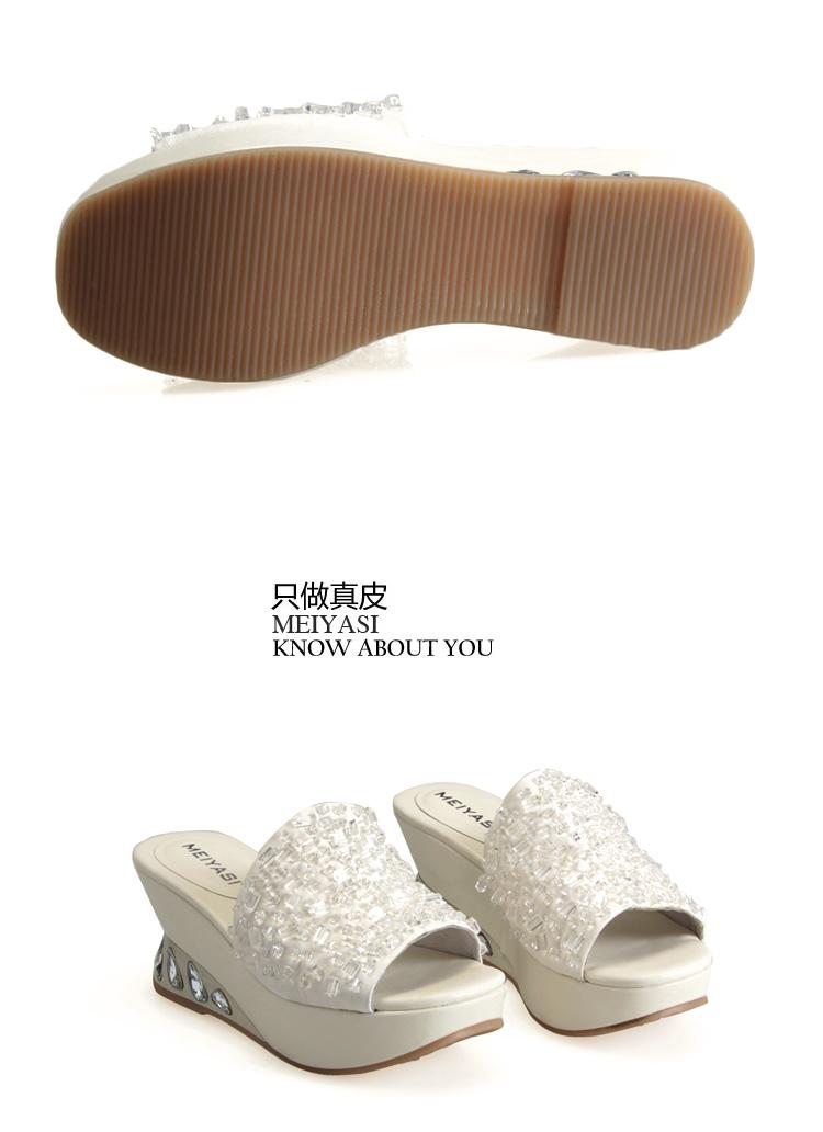 全手缝鱼丝线水晶拖鞋