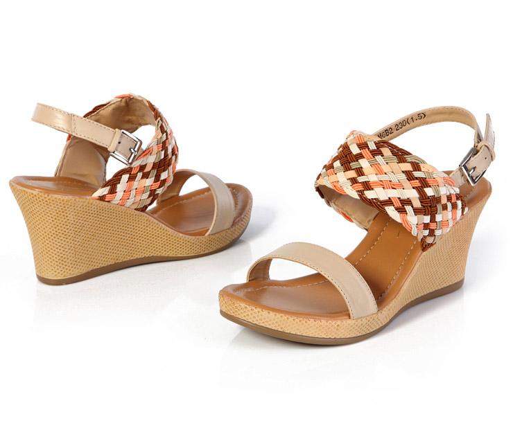 纯羊皮坡跟露趾凉鞋女式编织凉鞋