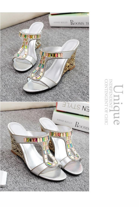 波西米亚坡跟凉拖鞋