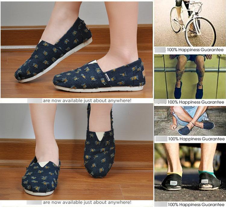 夏季女鞋低帮休闲单鞋布鞋印花平底鞋懒人鞋