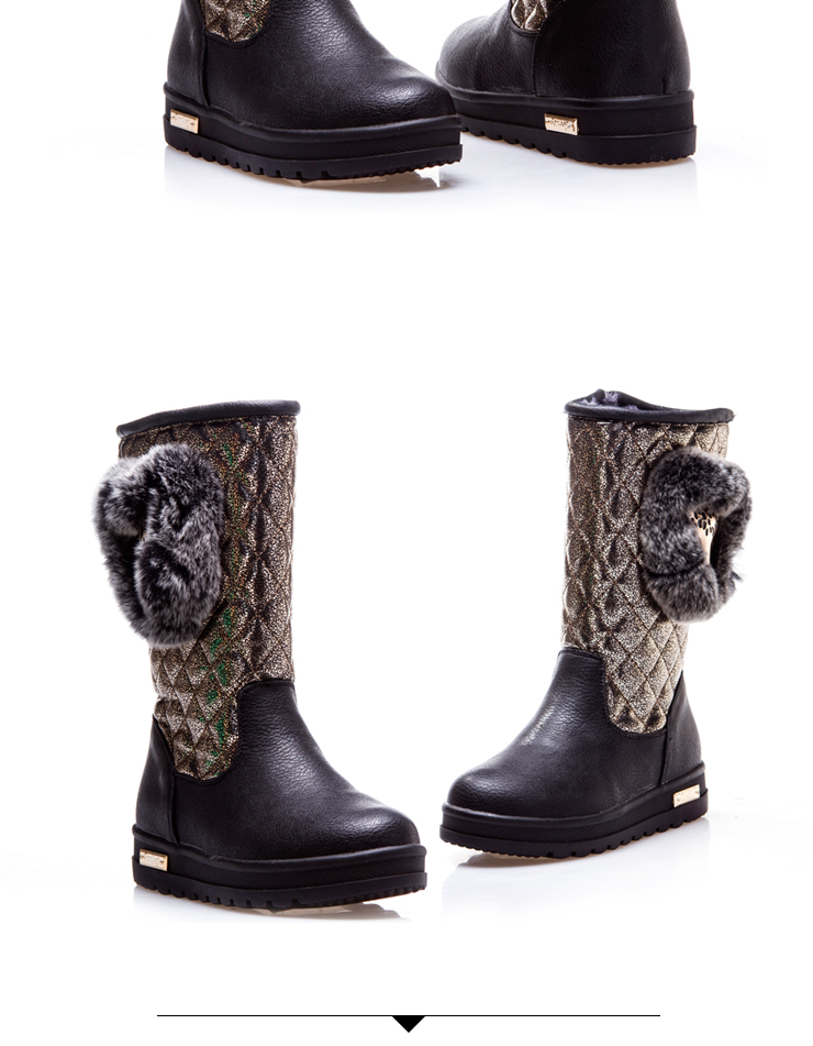 2013奔冬季新款仔儿童真毛雪地靴女童靴子儿童女靴靴