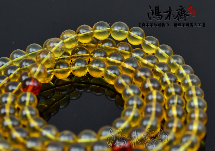 蓝珀手串琥珀蜜蜡手链手串108颗天然蓝珀孤品鉴定证书缅甸高清图片