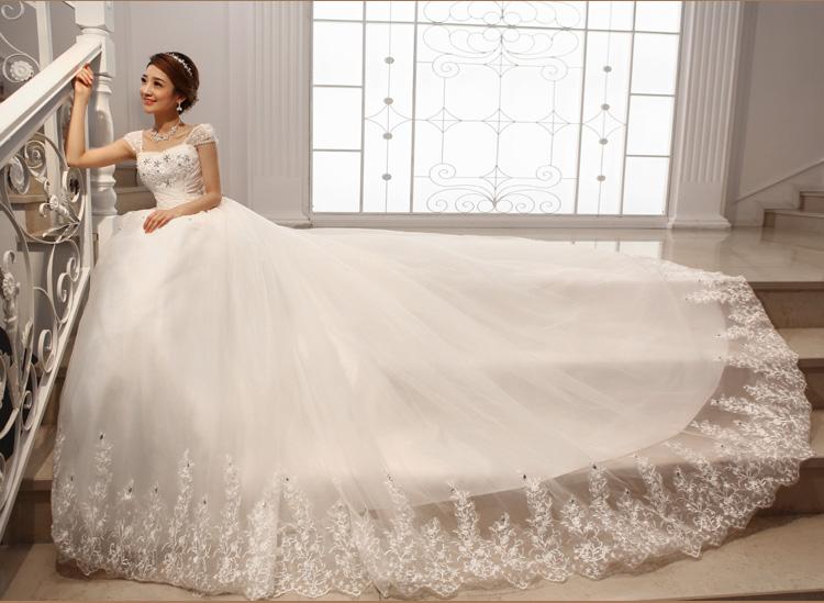 2014最新款婚纱礼服韩版双肩2013一字肩大