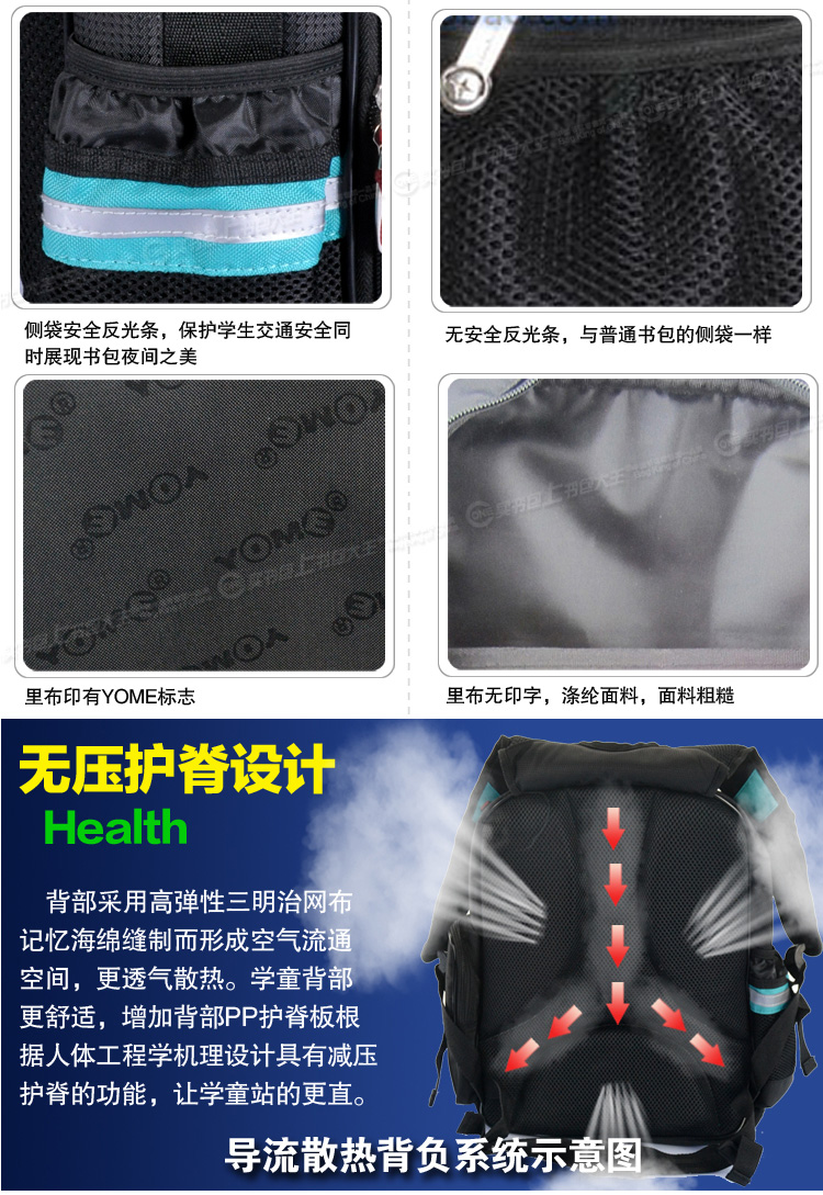 香港yome男女小学生1-4年级双肩护脊减负书包儿童