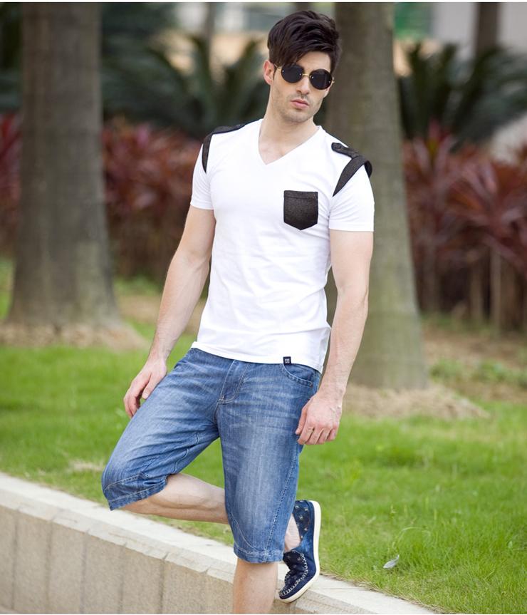 2013 new wave of male V-neck T-shirt men Korean Slim personalized t-shirt fashion men short sleeve insignia black 185/100 (XXL)