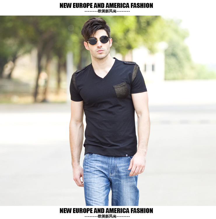 2013 new wave of male V-neck T-shirt men Korean Slim personalized t-shirt fashion men short sleeve insignia black 185/100 (XXL