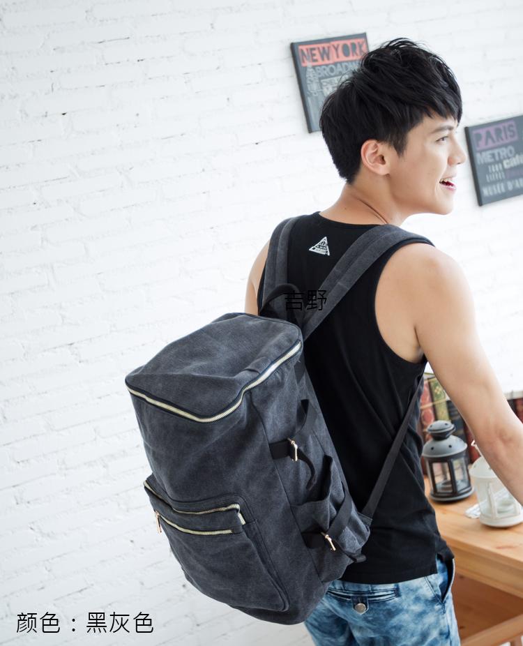男士双肩包水桶包韩版背包大容量学院旅行包电脑包