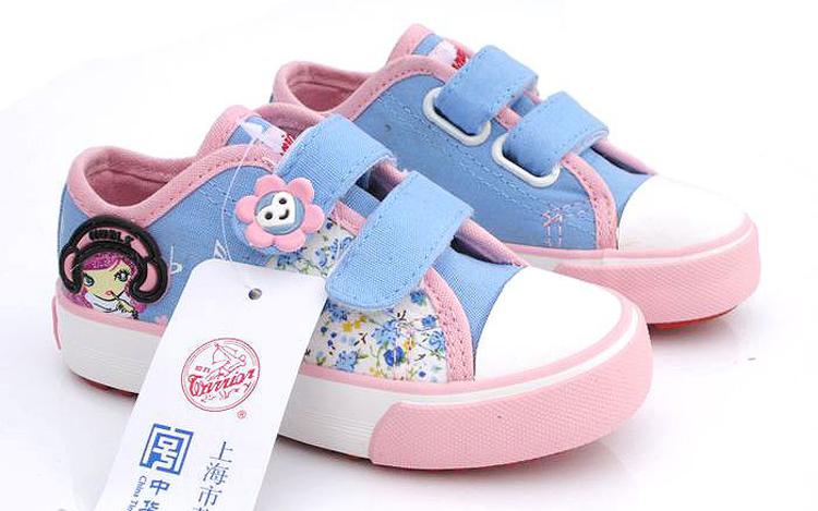上海回力童鞋女童鞋单鞋魔术贴碎花儿童帆布鞋