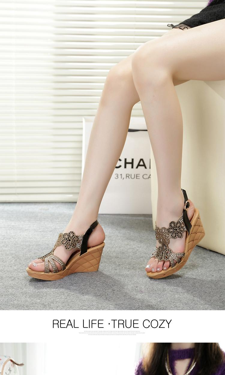 堂颐2014夏季新款水砖坡跟镂空女士凉鞋高跟鱼嘴女鞋