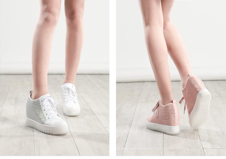 薇亚via2014春季新款韩版休闲女鞋真皮镂空亮片鞋平