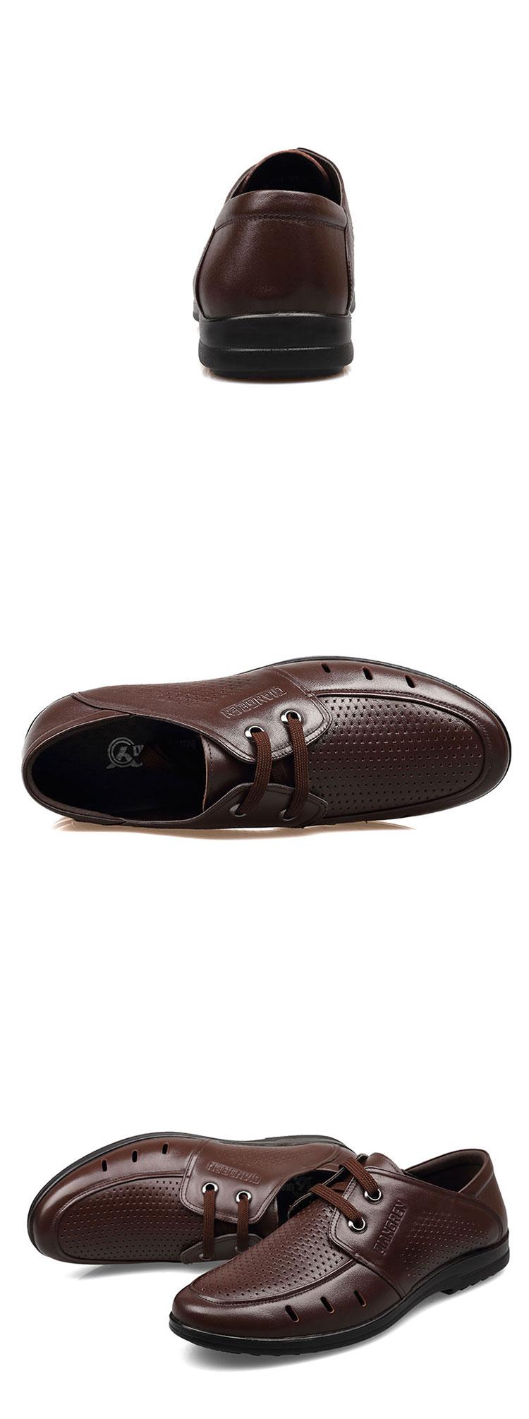 3515强人夏季新款真皮打孔舒适男凉鞋商务系带洞洞