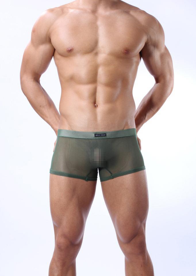 男士内裤 男式 透明 网纱平角裤