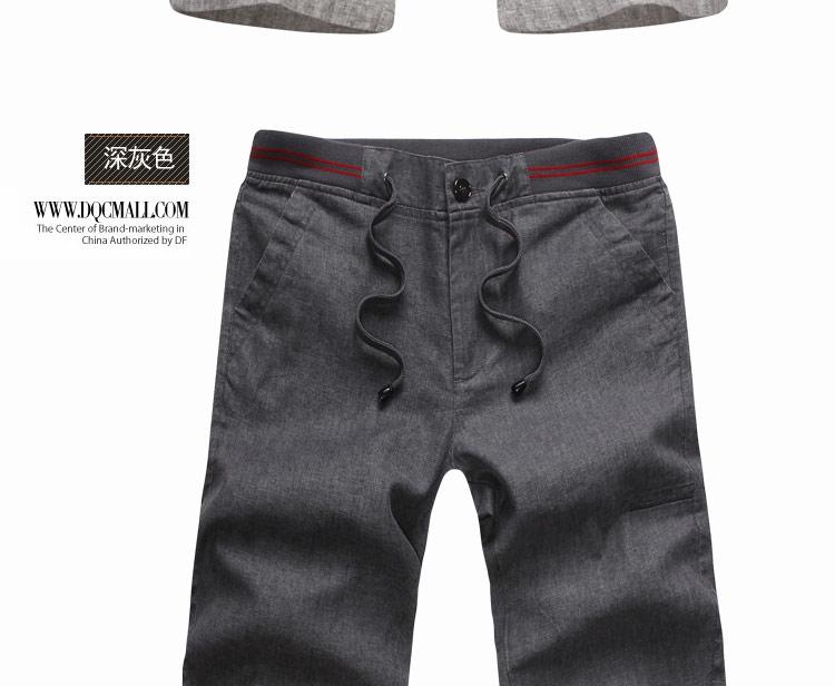 夏季新款潮男 五分裤棉亚麻裤松紧系带 清凉亚麻五分裤 LG K5510