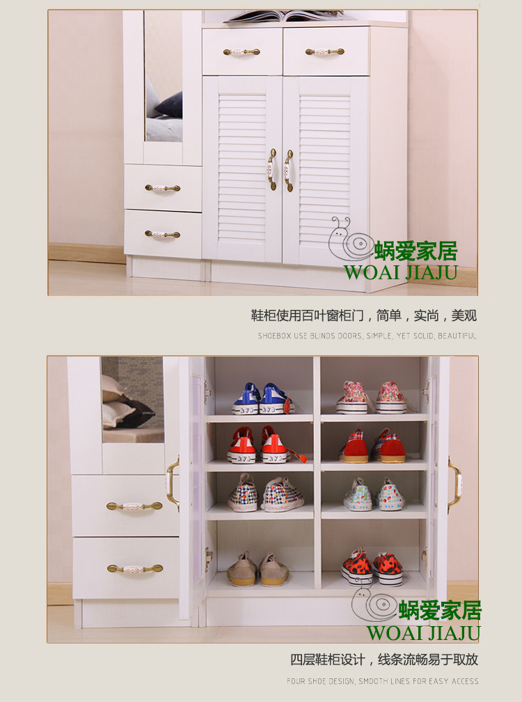 木质鞋柜带镜子玄关门厅柜鞋架衣帽架