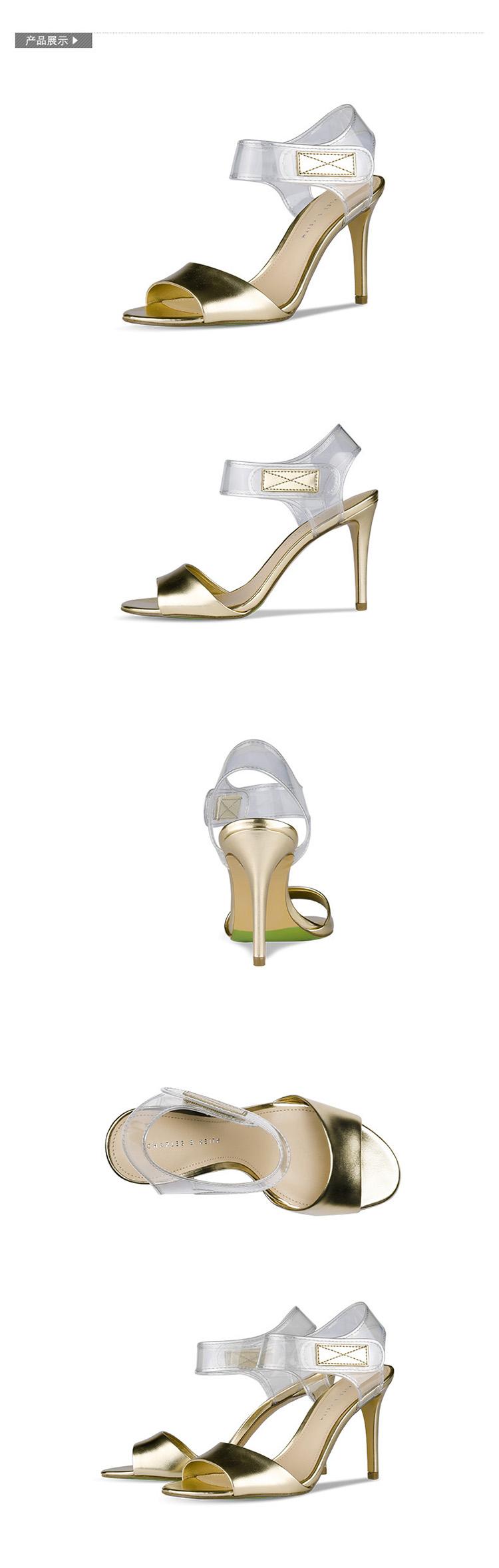 charles&keith2014夏季新款女鞋时尚透明细高跟凉鞋