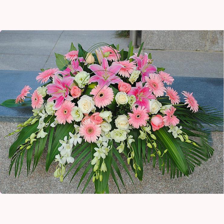 朵美鲜花速递 签到台花 会议鲜花 礼仪台花 会议布置 迎宾台花 款式三