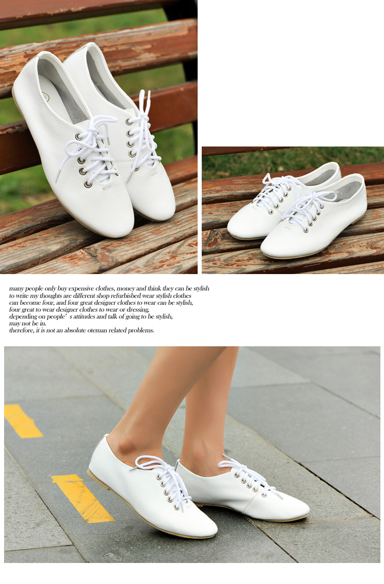 新款韩版甜美白色牛皮真皮休闲鞋单鞋女鞋子d8518