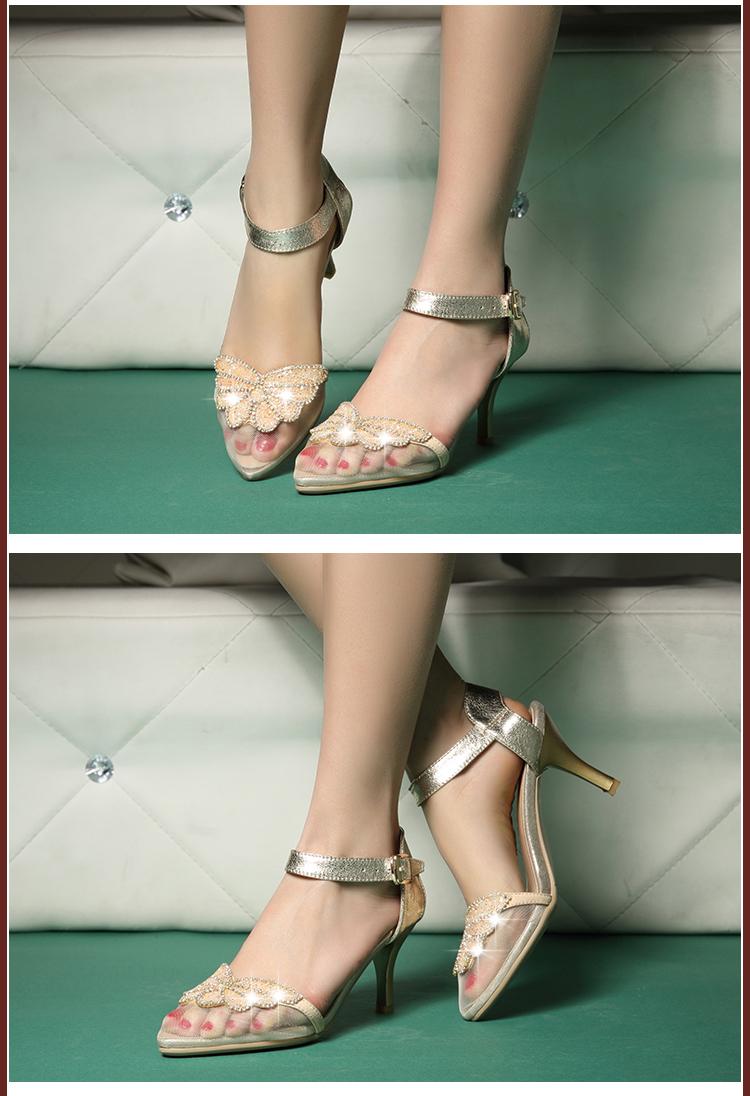 新款春秋靴子女网凉鞋蕾丝水钻低跟包头孔孔韩版公主