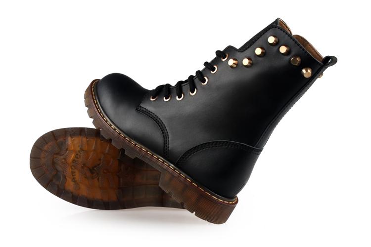 年终热卖3515强人女鞋保暖真皮机车靴系带马丁靴英伦