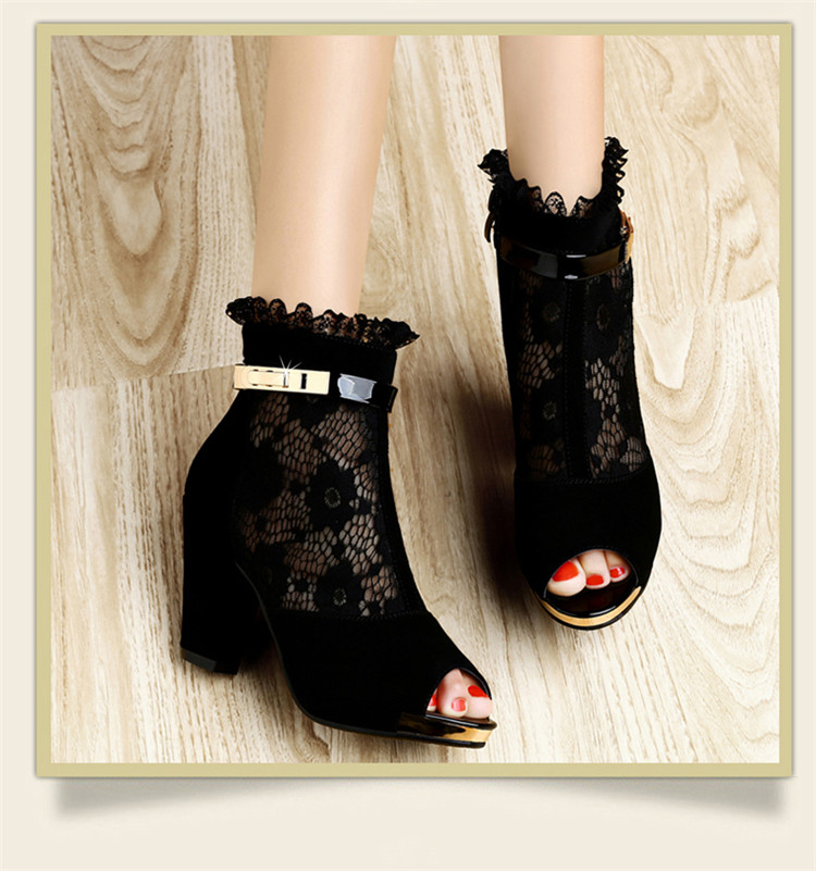 古奇天伦 2014春夏季新款蕾丝花朵网布透气高跟凉鞋
