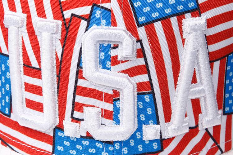 VISROCK夏季韩版潮嘻哈帽USA美国国旗平沿