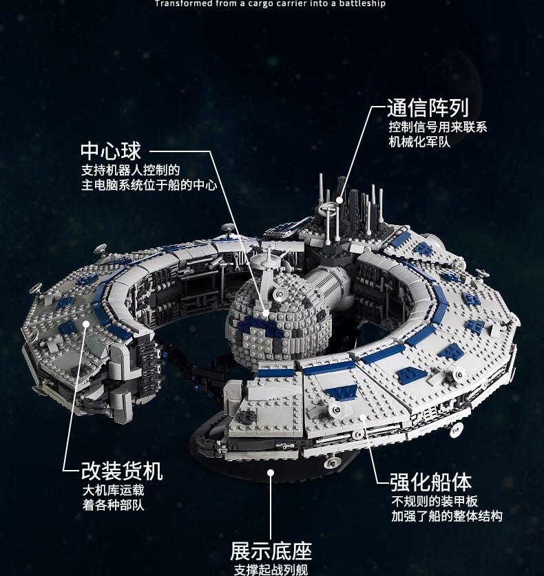 宇星模王积木 星际系列卢克里胡克级战列舰21008
