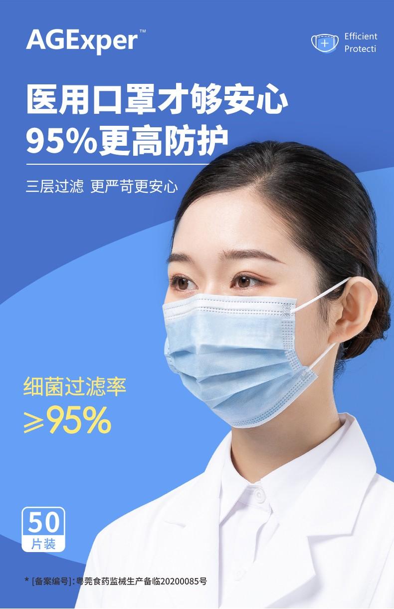 【现货速发】AGExper一次性Yi用口罩透气成人通用内含熔喷布三层设计防护 50片装(一包装)