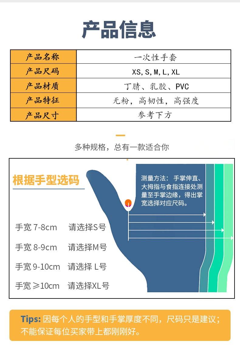 WRP万宝利一次性丁腈防护手套舒适型 家居日用 100只/盒,10盒/箱 全场85折