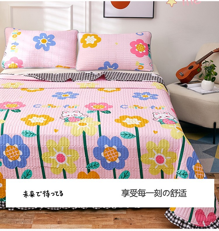 梦嘉欢 2021清新卡通磨毛四季床盖 床单床垫 单双人床床盖 床垫 床单 (童话故事) 195*225cm单床盖