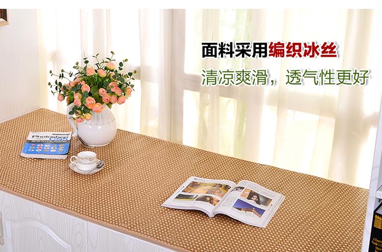 韦韦冰丝飘窗垫定做定制窗台垫高密度海绵阳台垫实木沙发坐垫 冰丝牡丹 垫子70*150cm一片