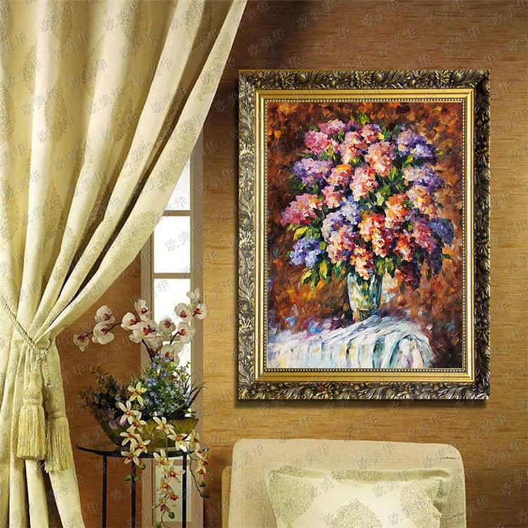 欧美华手绘厚彩装饰花卉有框油画 现代欧式壁画 客厅