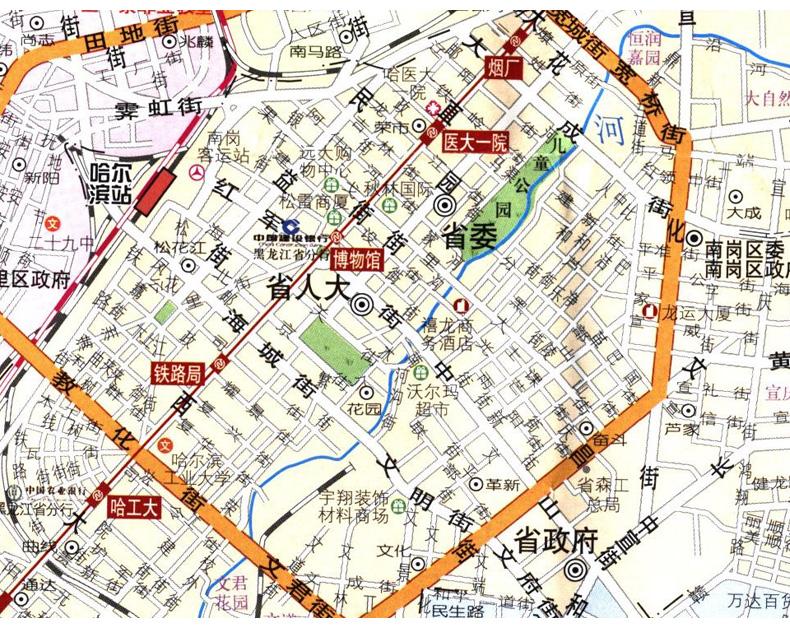旅游/地图 分省/区域/城市地图 2017年新版哈尔滨城区交通图 哈尔滨地