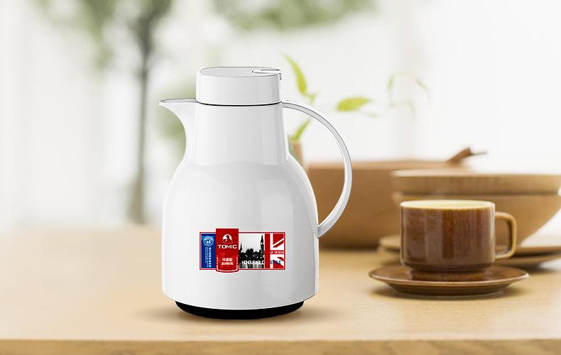 英国tomic特美刻玻璃内胆保温暖水壶热水瓶1jbs2059时尚保温壶 白色