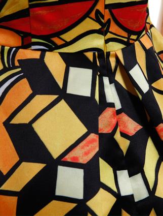 几何抽象印花连衣裙 橘色 S