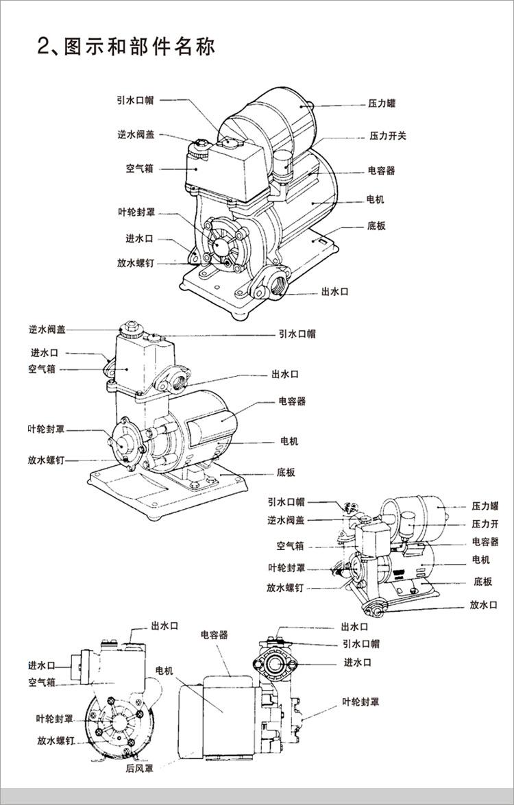 韩羽1100w全自动家用增压泵自来水增压泵自吸泵抽水泵