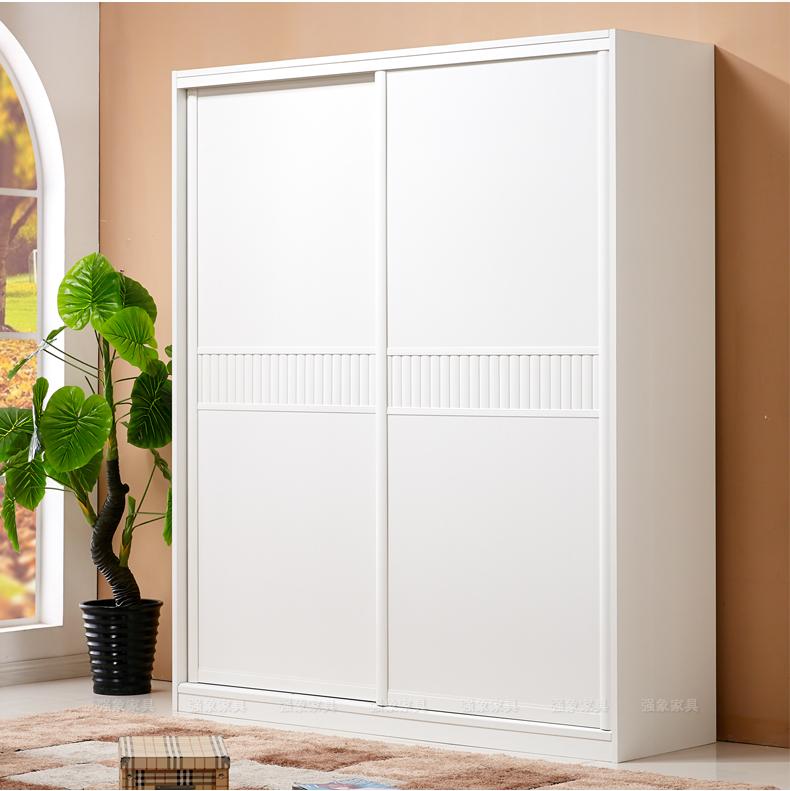 强象推拉门衣柜移门定做简约现代组合衣橱白色两门平