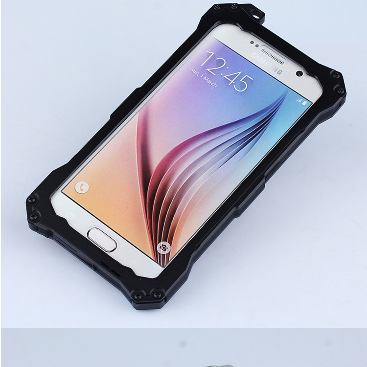 S.CENG Gundam Water Resistant Dustproof Shockproof Silicone Gorilla Glass Aluminum Alloy Metal Case Cover for Samsung Galaxy S6