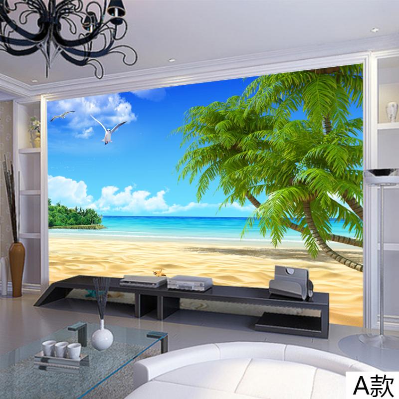 尤蔓尤蔓3d自然风景画电视墙壁纸客厅饭厅沙发背景墙墙纸蓝天白云沙滩