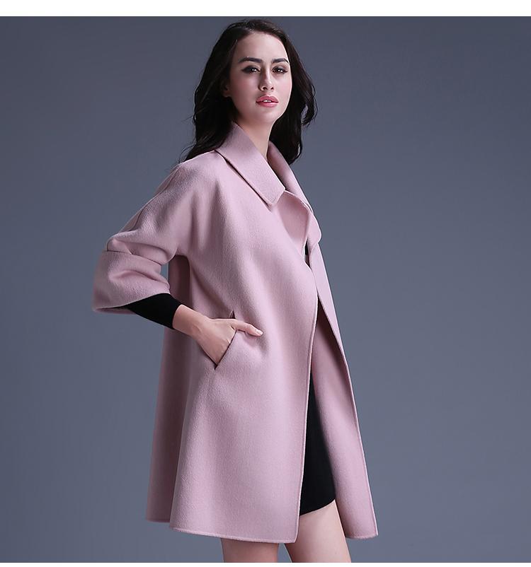 卡尔浓依女装2015秋冬新款宽松大码双面呢大衣女中长款纯手工双面羊绒