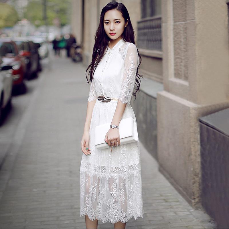 蕾丝镂空连衣裙高端