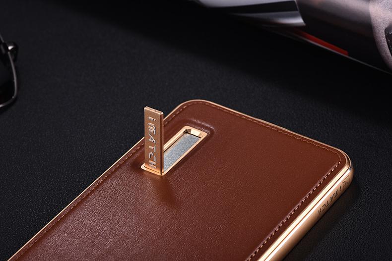 iMatch Luxury Aluminum Metal Bumper Premium Genuine Leather Back Cover Case for OPPO R9 Plus & OPPO R9