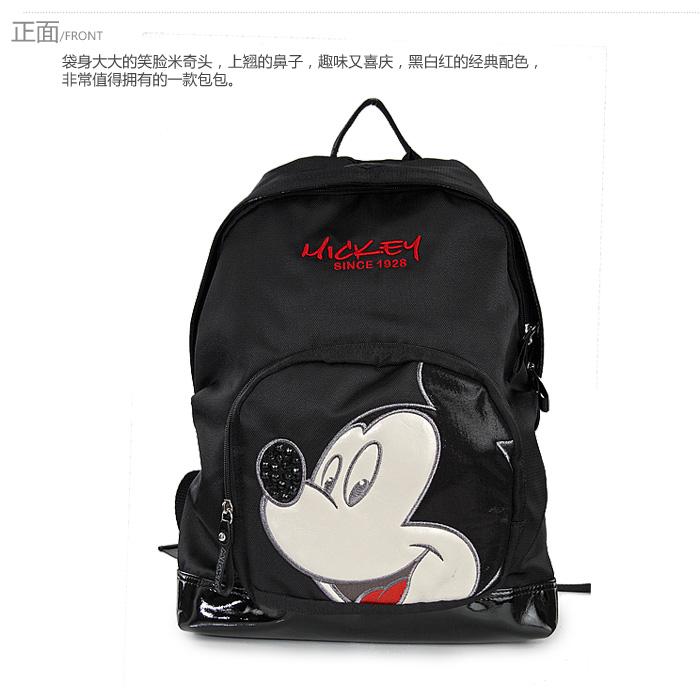 迪士尼disney米奇包包帆布配pu休闲中性双肩包ef2072